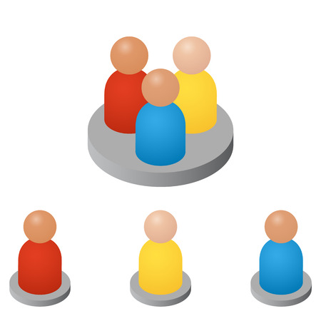 The concept of referrals and followers on the Internet and business. Isometric abstract group of people. Teamwork icons. Successful leader and Manager. Vector illustration.