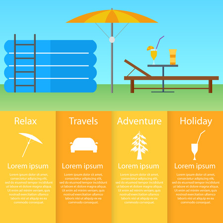 out of town: Inflatable pool, sun lounger under an umbrella. Flat style. A table with a cocktail and sunscreen. Infographics rest and relaxation. Weekend out of town. Vector illustration.