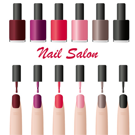 finger nail: Nail Polish in the package. Glamorous tube of colored lacquers. Design for manicure beauty salon. Cosmetics for women. Set of various fashion colors. Isolated on white finger. Vector illustration.