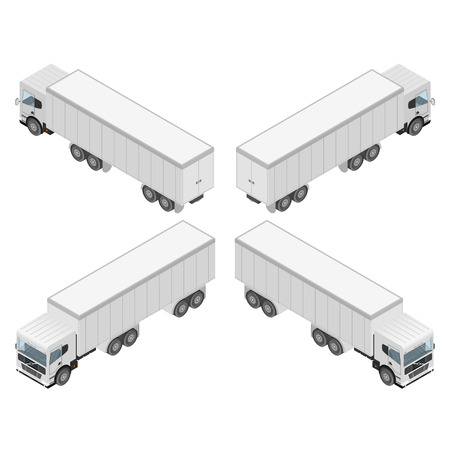 big truck: Big truck in isometric. Cargo transport.  Isolated on white background. Commercial vehicle. Flat style. Vector illustration. Illustration