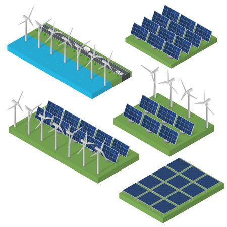 Windkraftanlage. Isometrisches Konzept der sauberen Energie. Windkraft. Blaue Sonnenkollektoren. Flach isometrisch. Moderne alternative Energie. Set von ökologischer Energie. Standard-Bild - 67600365