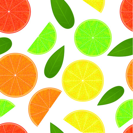 Citrus seamless pattern. Juicy orange and sour lemon. Delicious grapefruit and lime green. Organic concept. Fresh eco fruit. White background. Vector illustration.