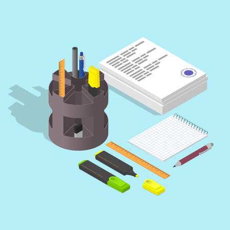 Stack of papers. The stamp on the document. Blank Notepad. Pen and pencil. Highlighter. Flat isometric. Working concept. Vector illustration. Ilustrace