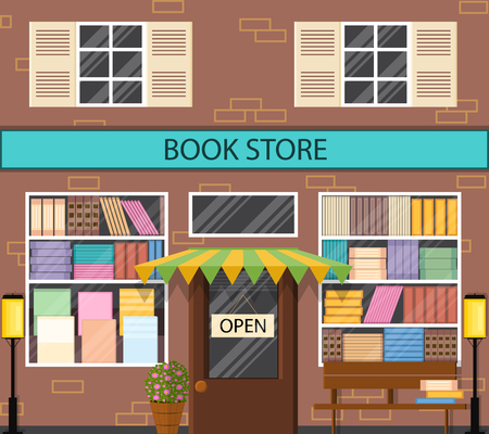 window bench: The window of a bookstore. Flat style. A lot of books on the shelves. Lantern and bench outside. Literary shop. Street showcase. Vector illustration.