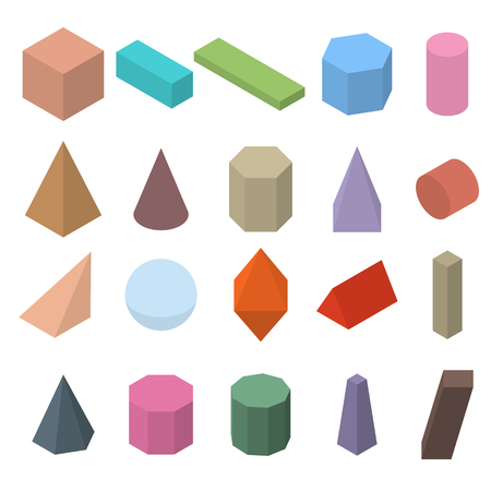 Set of 3D geometric shapes. Isometric views. The science of geometry and math. Colorfull objects isolated on white background. Flat style. Vector illustration. Stock Illustratie
