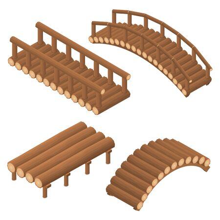 El puente de troncos de madera. Arqueado y recto Plano isométrico 3D. Estructura de ingeniería de árboles al otro lado del río. Viaducto. Vigas y soportes. Ilustración vectorial Ilustración de vector