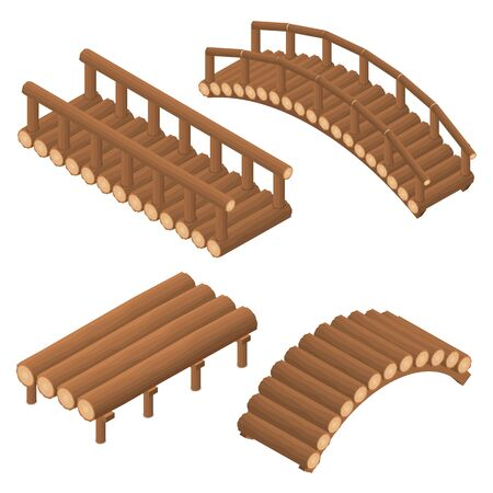 The bridge of wooden logs. Arched and straight. Flat 3D isometric set. Engineering Structure of trees across the river. Viaduct. Beams and supports. Vector illustration.