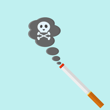 toxic substance: Cigarette in flat style. Smoking kills. The risk to the lungs. The skull in the smoke. Vector illustration.