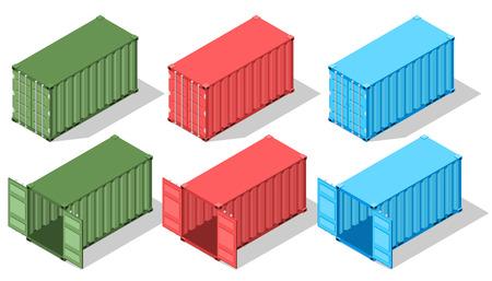 輸送用大型金属容器。等角図であります。開閉扉。さまざまな色のボックス。貨物の配送。出荷しています。ベクトルの図。  イラスト・ベクター素材