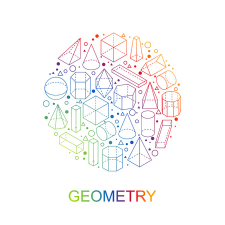 Geometry shapes. Round color stamp symbol. Isometric outline obgects. Linear Math icon. Isolated on white background. Vector illustration.