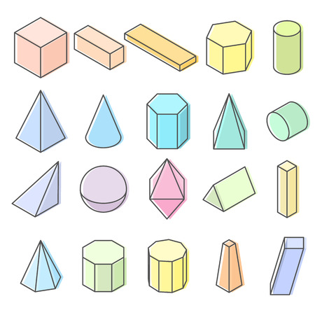 Set of 3D geometric shapes. Isometric views. The science of geometry and math. Pastel Colorfull objects isolated on white background. Flat style. Vector illustration.