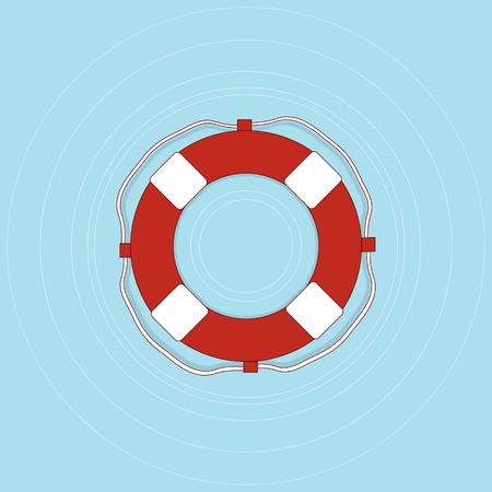 Life buoy with rope in flat style. First aid for a drowning man. Lifeguard red web icon design. Vector illustration. Illustration