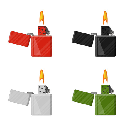 butane: Set of lighters in the flat style. The concept of Smoking. The ignition of the fire. Flame. Isolated on white background. Vector illustration.