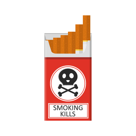 baccy: Pack of cigarettes. Flat style. The nicotine dependence. Addiction. The red packaging. Unhealthy habit. Smoking kills. Vector illustration. Illustration
