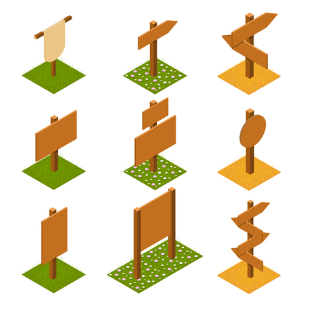 Isometric wooden pointers on grass. Brown plywood. Rustic signs direction road. Wooden stand for posters and ads. The arrow direction. Game design. Vector illustration.