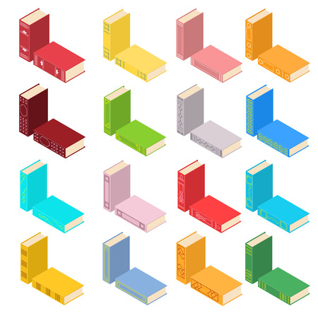 Set of books in an isometric view. Different colors and covers. Bookstore icon. Vector illustration.