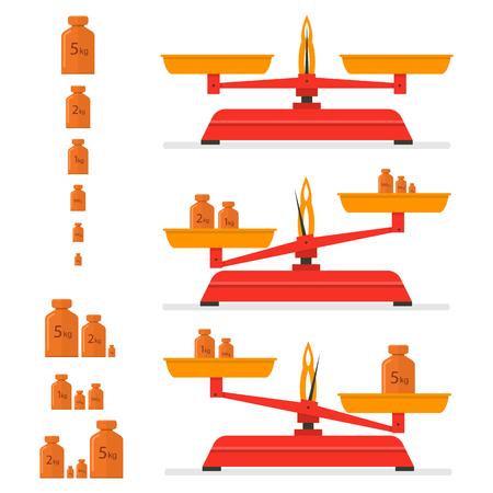 Rote Küchenwaage. Vintage Eisen Gewicht Werkzeug. Unterschiedliche Gewichte. Balance. Isoliert auf weißem hintergrund Vektor-illustration Vektorgrafik