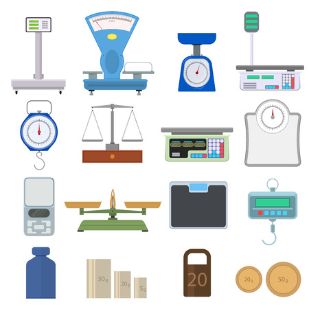 Set of instruments for weighing. Scales in flat style. Device for measuring weight. Isolated on white background. Vector illustration. Vectores