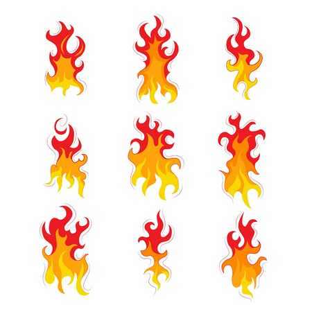 Set of fire. Flat style. Elements of a fire and fireplace. Red and yellow flash. Bright flame. Vector illustration.