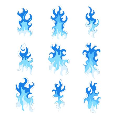 Set of fire. Flat style. Elements of a fire and fireplace. Blue color flash. Bright flame. Vector illustration. Ilustrace