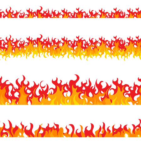 Set of seamless fire. Flat style. Elements of a fire and fireplace. Orange and red flashes. Bright hot flame. Frame for the banners. Vector illustration.