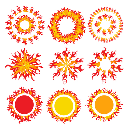 Set of round fire framework. The fiery sun. A Burning Fireball. Flame red and yellow. Vector illustration. Ilustrace