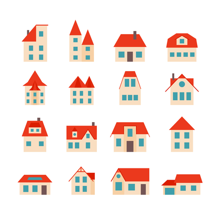 Set of simple houses with orange roof. European Prague country houses. Icon design for the site, cards, banners. Vector illustration.