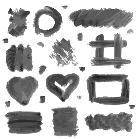 Set of ink decorative elements. Black frames and banners. Gray blots isolated on white background. Textures Doodle hand drawn. Vector illustration.