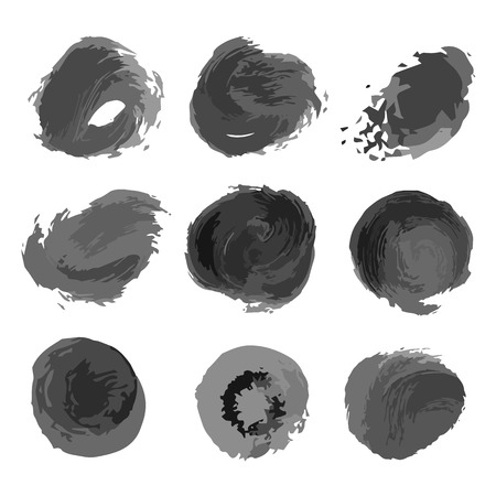 Set of hand drawn ink circles. Decorative elements blots. Black spot. Isolated on white background. Vector illustration.