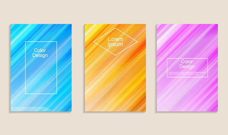 Covers with dynamic diagonal colorful patterns. Trendy design for banner, cards, flyers, posters. Vector illustration. Ilustrace