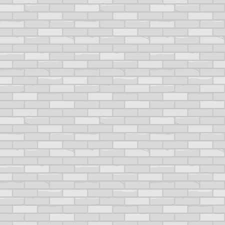 White brick wall. Seamless light background pattern. Realistic rough texture. Vector illustration.