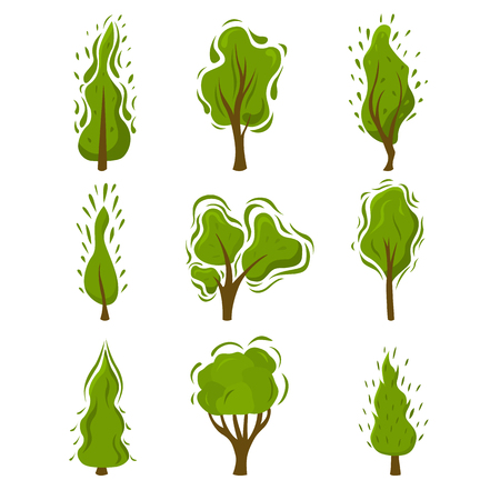 Set of creative green trees in flat style. Elements for landscape, forest, Park. Vector illustration. Illustration