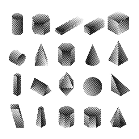 Halftone isometric geomtric shapes. Dotted objects. Simple black and white icons. Vector illustration.