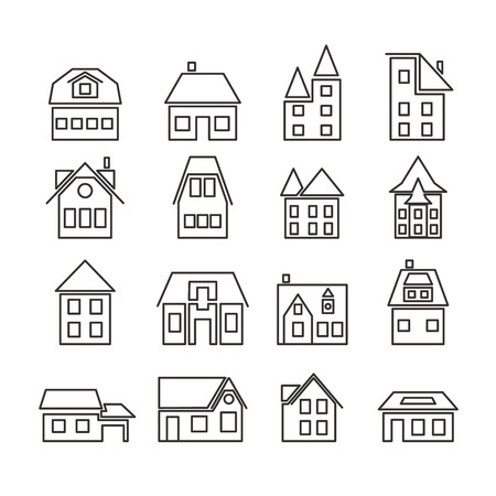 Set of simple line art icons European houses. Residential cottages. The Linear architecture of the building. Design for websites, cards for construction company. Vector illustration.  イラスト・ベクター素材