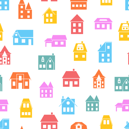 Seamless pattern of colored European houses. Background made of silhouettes of buildings.  Design for websites, cards, banners for construction company. Vector illustration.
