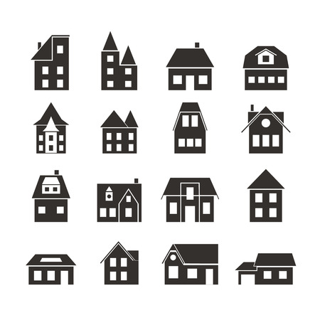 Set of black silhouettes of European houses. Residential cottages. Architecture of the building. Design for websites, icons, cards for construction company. Vector illustration.