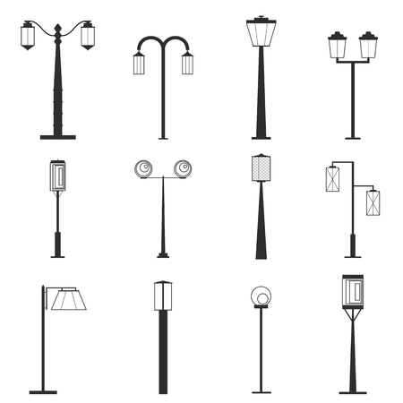 Street lamp silhouettes set. Black shapes isolated on white background. Simple outdoor design. Vector illustration.
