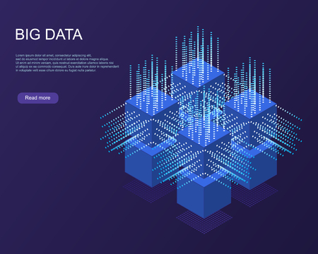 Digital Technology Web Banner. Big data Machine Learning Algorithms. Abstract banner analysis of Information. Isometric view. Science darck blue Background. Ilustrace