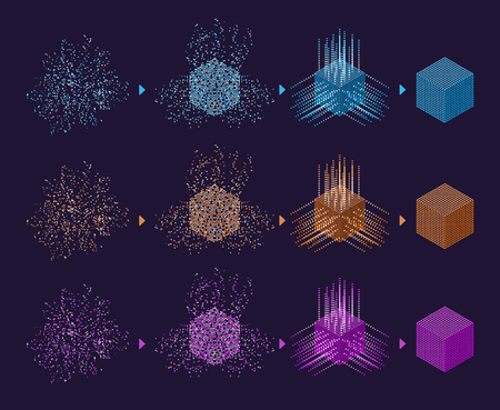 Digital Technology Web Banner. Big data Machine Learning Algorithms. Abstract banner analysis of Information. Isometric view. Science Background. Colorful cube.
