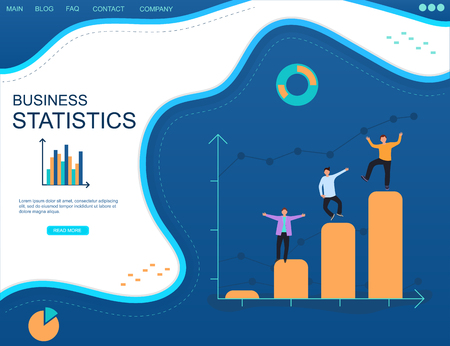 Business intelligence. Statistics analysis. Successful business. Happy business people on a chart. Flat concept on a blue background. Ilustrace