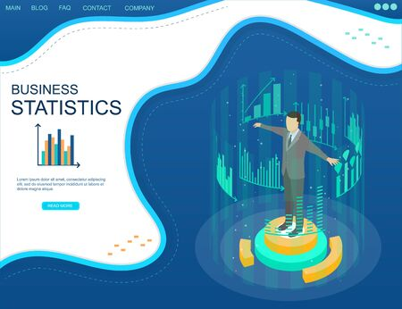 Business intelligence. Statistical analysis concept in isometric view. Successful business. Businessman surrounded by graphs and charts.