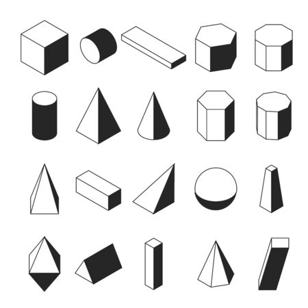 Linear isometric geomtric shapes. Black and white objects. Simple math icons. Vector illustration.