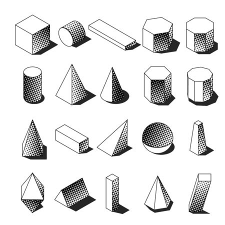 Halftone isometric geomtric shapes. Dotted memphis objects. Simple black and white icons. Vector illustration. Ilustrace