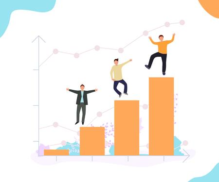 Happy businessmen. Successful business project statistics. Career growth. Modern flat banner design. Vector illustration.