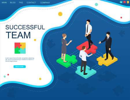 Successful teamwork concept website banner. Isometric view. Puzzle and businessmen on a dark blue background.