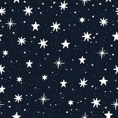 Starry sky hand drawn. White stars on blue background. Seamless pattern.  Vector illustration.