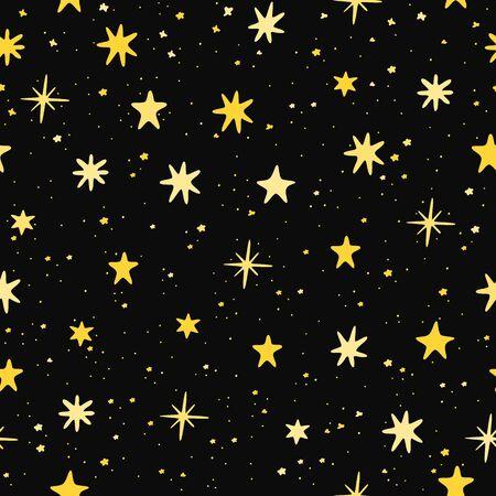 Starry sky hand drawn. Yellow stars on a black background. Seamless pattern. Starshine Vector illustration. Ilustrace