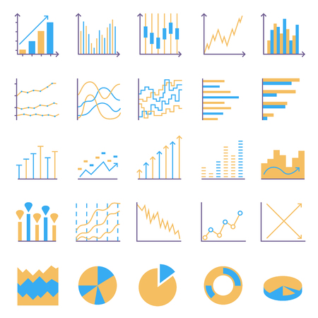 Statistics color icons. Set of linear web elements. Simple Graphic, Pie Chart, Column Chart. Thin line Vector illustration Ilustrace