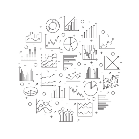Statistics round icon. Set of linear web elements. Simple Graphic, Pie Chart, Column Chart. Thin line circle. Vector illustration Ilustrace