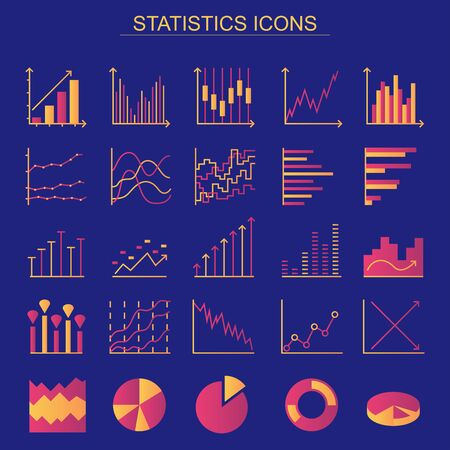Statistics color icons on blue background. Set of linear web elements. Simple Graphic, Pie Chart, Column Chart. Thin line Vector illustration